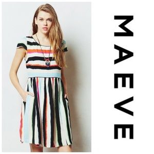 Maeve Anthropologie Peralta Striped Flare Dress